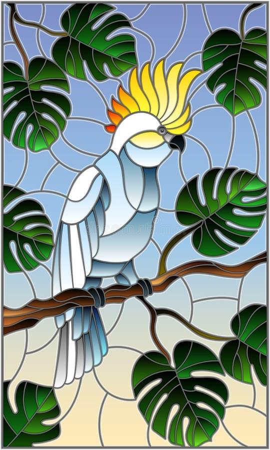 Parakiter för kakadua för målat glassillustrationfågel vit på tropiskt träd för filial mot himlen royaltyfri illustrationer