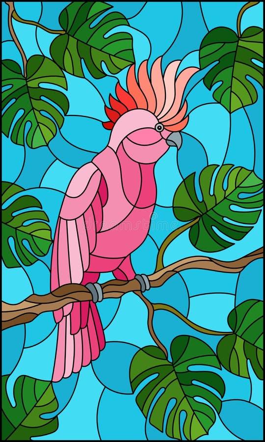 Parakiter för rosa kakadua för målat glassillustrationfågel på tropiskt träd för filial mot himlen vektor illustrationer