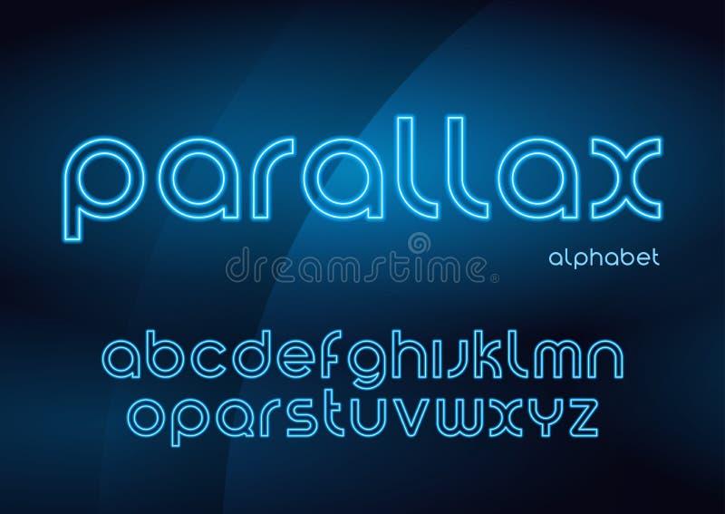 Paralaxevektorlineare Neonschriftbilder, Alphabet, Buchstaben, Guss, lizenzfreie abbildung