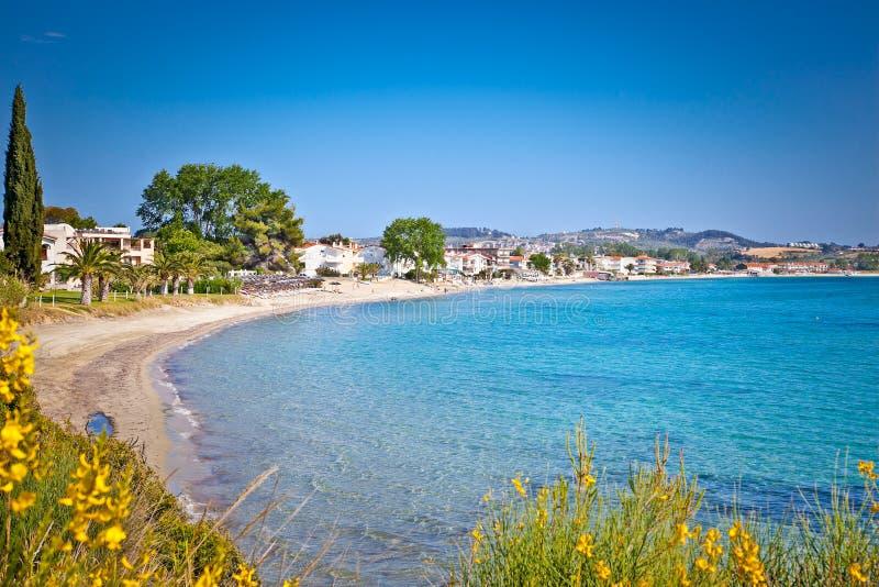 Paralia Fourkas beach, Halkidiki, Greece. Paralia Fourkas beach on Kassandra peninsula, Halkidiki, Greece stock photos