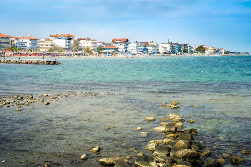 Paralia Katerini plaży widok W Grecja Perfect lato Destinatio fotografia royalty free