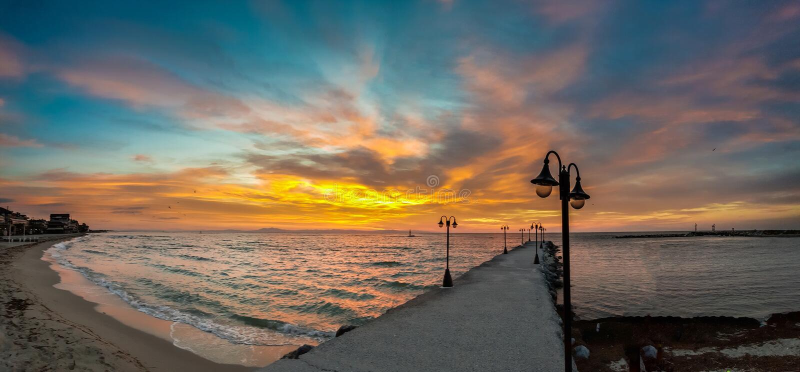 Paralia Katerini plaży wschód słońca w Grecja obrazy royalty free
