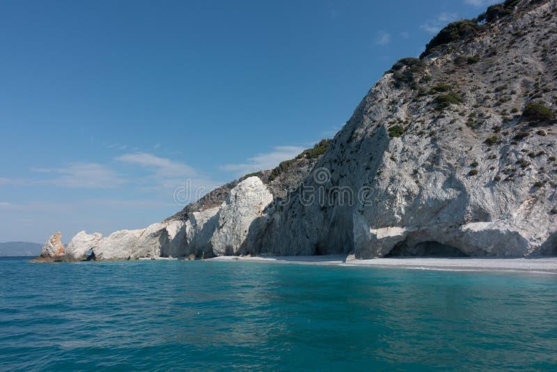 Paralia Lalaria plaża w Skiathos w Grecja zdjęcia stock