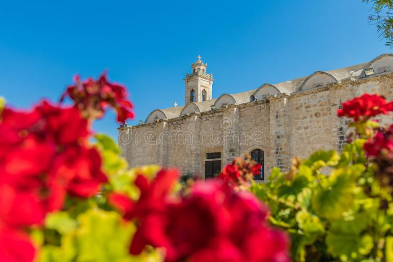 A typical view in Paralimni Cyprus. Paralimni Cyprus. August 16 2019. A view of agios georgios church in Paralimni Cyprus stock images