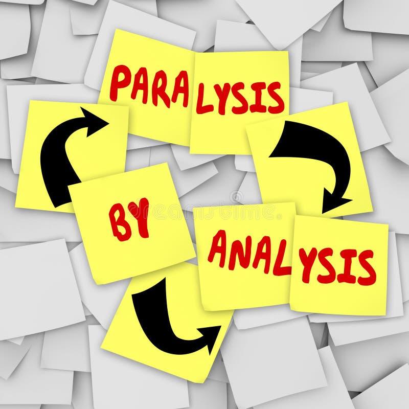 Paralisia por notas pegajosas da análise sobre o problema de pensamento Indecis ilustração royalty free