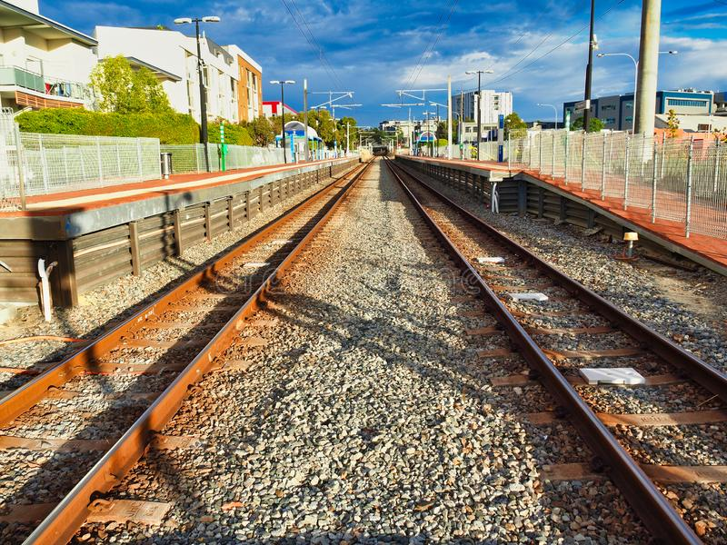 Parallel Rusty Train Tracks, Perth,  Western Australia stock photos