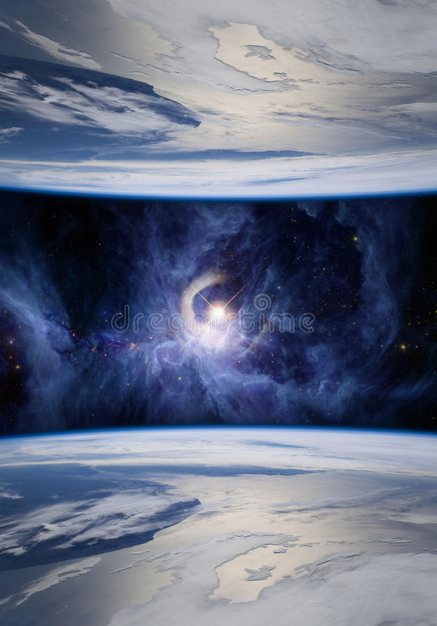 Parallel Universes in Blue. Fantasy image of mirrored Earths symbolizing parallel universes. The V1331Cyg star is shown on the Sword of Orion. Elements of this royalty free stock photography