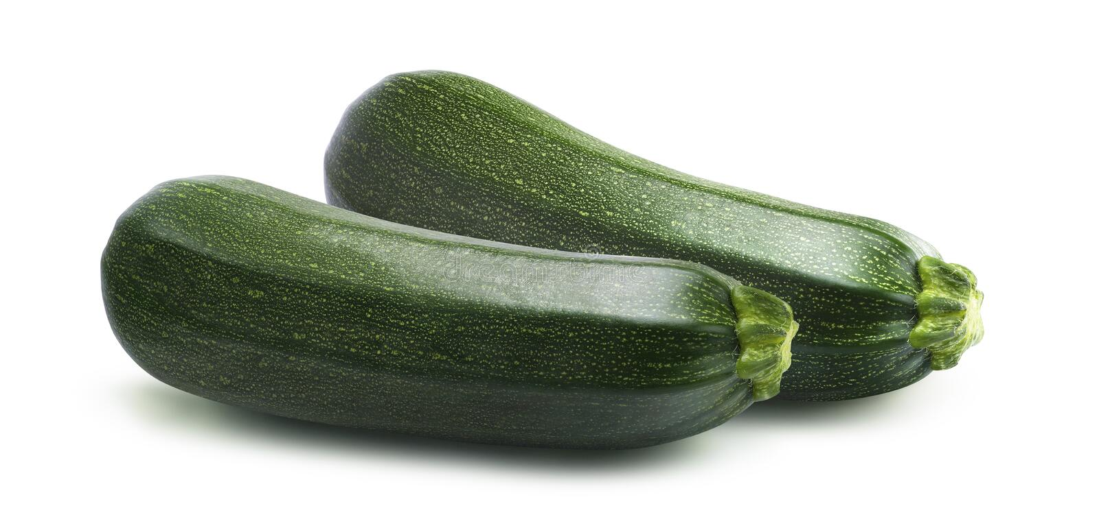 Parallel zucchini isolated on white background. As package design element royalty free stock photography