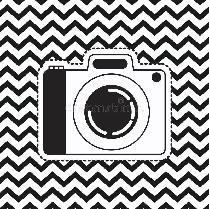 Parallell kameraklistermärke på bakgrund för sicksack för popkonst linjär monokrom vektor illustrationer