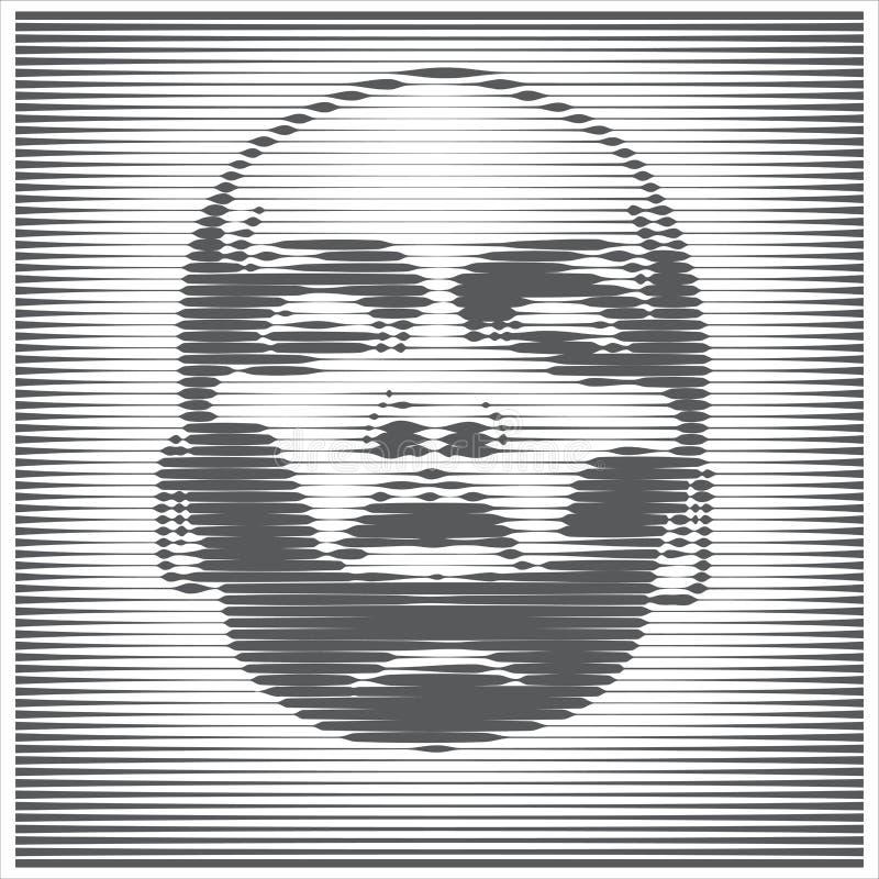 Parallell linje Art Face Afrikansk ljus kvinnast?ende i motsats vektor designillustration royaltyfri illustrationer