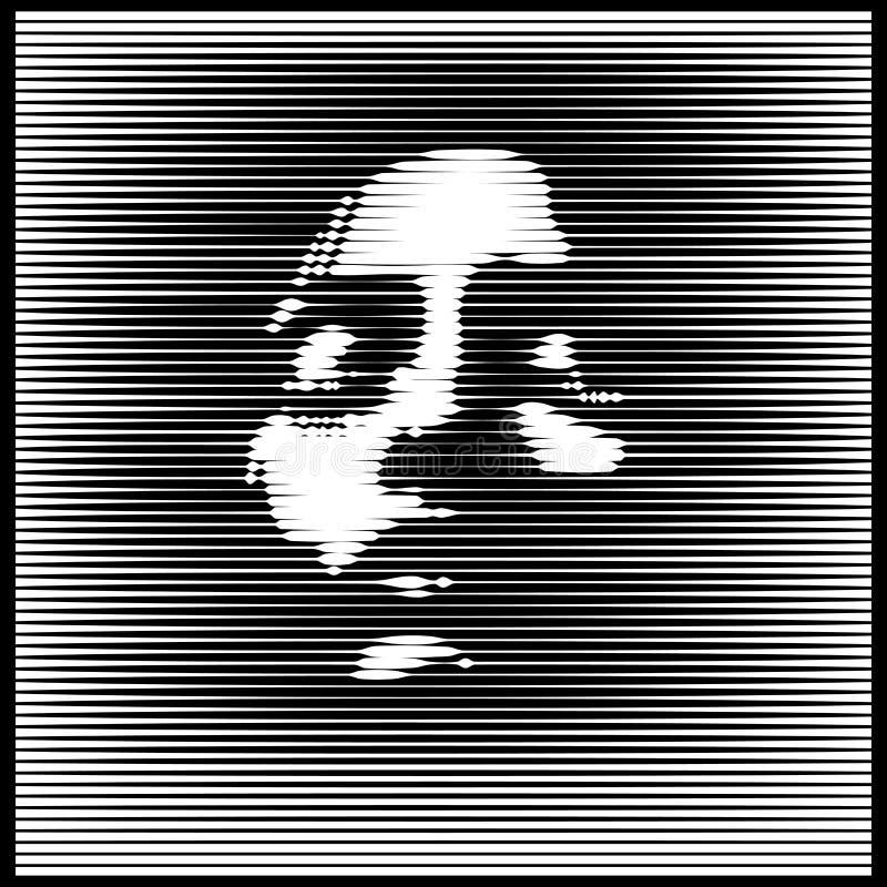 Parallell linje Art Face Ljus kvinnast?ende i motsats designillustration stock illustrationer