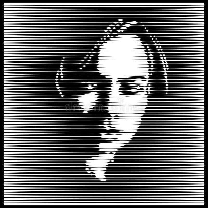 Parallell linje Art Face Ljus kvinnast?ende i motsats vektor designillustration vektor illustrationer