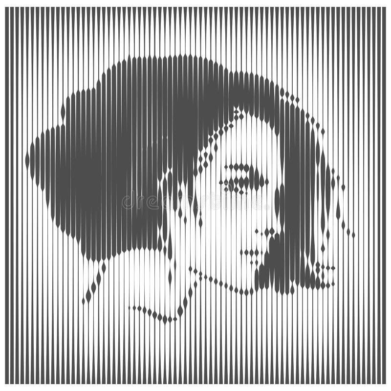 Parallell linje Art Face Ljus kvinnast?ende i motsats vektor designillustration royaltyfri illustrationer