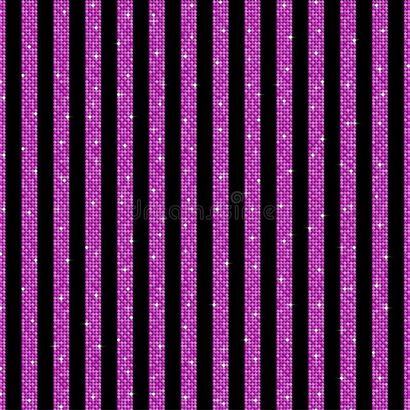 Parallella vertikala linjer rosa sequins stjärnor royaltyfri illustrationer
