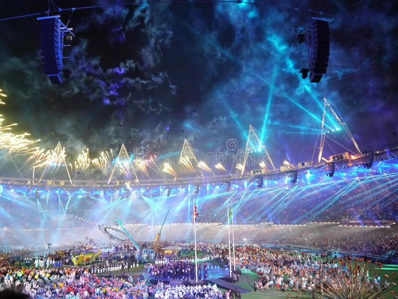 Blue fireworks at Paralympic closing ceremony royalty free stock photo