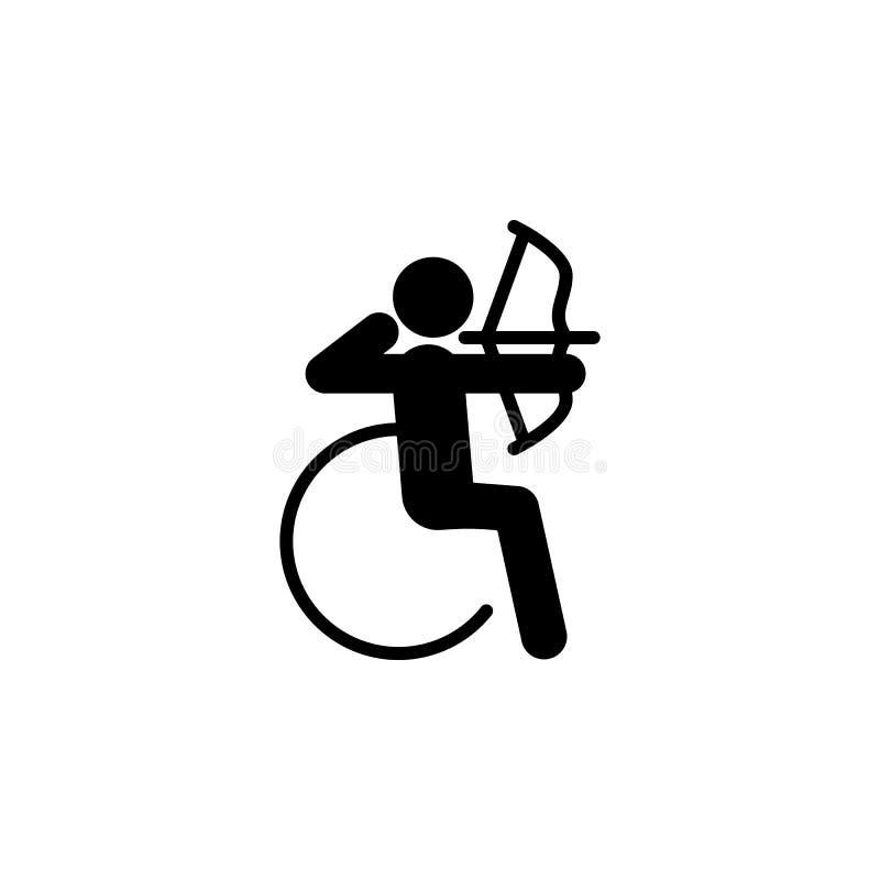 paralympic, icono del tiro al arco Elemento del ser humano discapacitado en el icono del deporte para los apps móviles del concep stock de ilustración