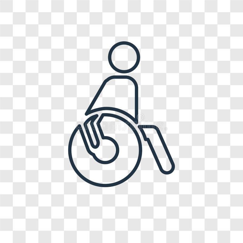 Paralympic pojęcia wektorowa liniowa ikona odizolowywająca na przejrzystych półdupkach ilustracja wektor