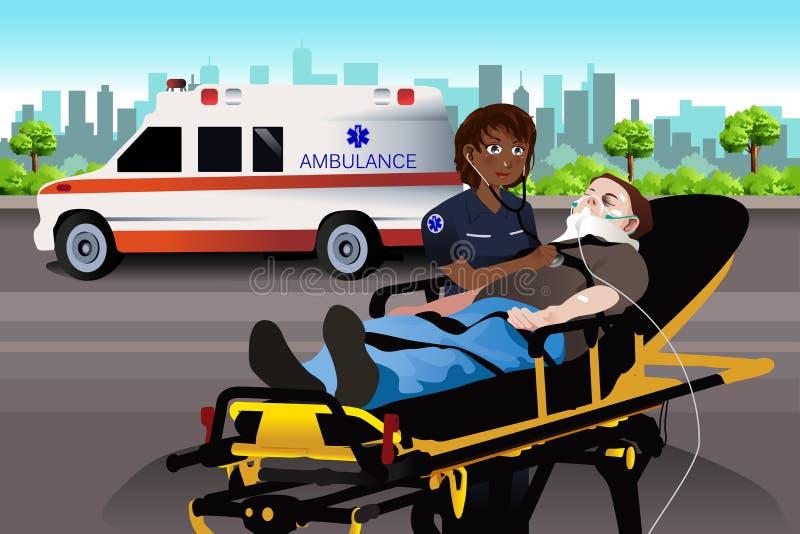 Paramédico de sexo femenino Examining un paciente libre illustration