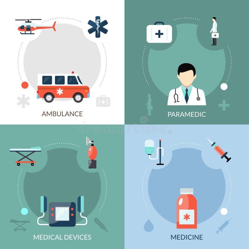 Paramédico Icons Set da emergência ilustração do vetor