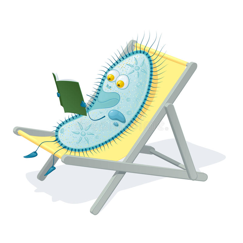 Paramecium caudatum sitting in a chaise lounge and reading a book royalty free stock photo