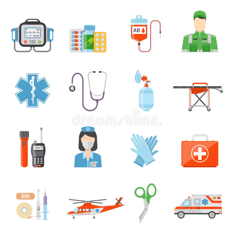 Paramedic Flat Colored Decorative Icons stock illustration