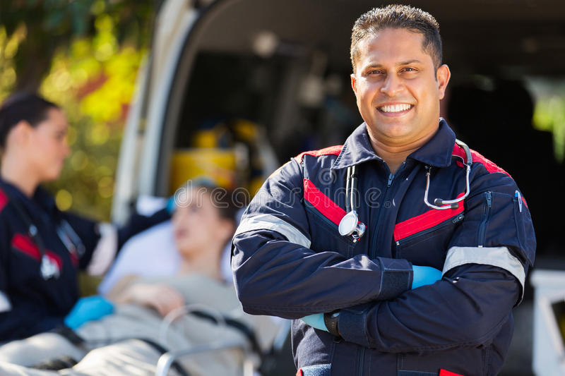 Paramedic patient colleague stock image