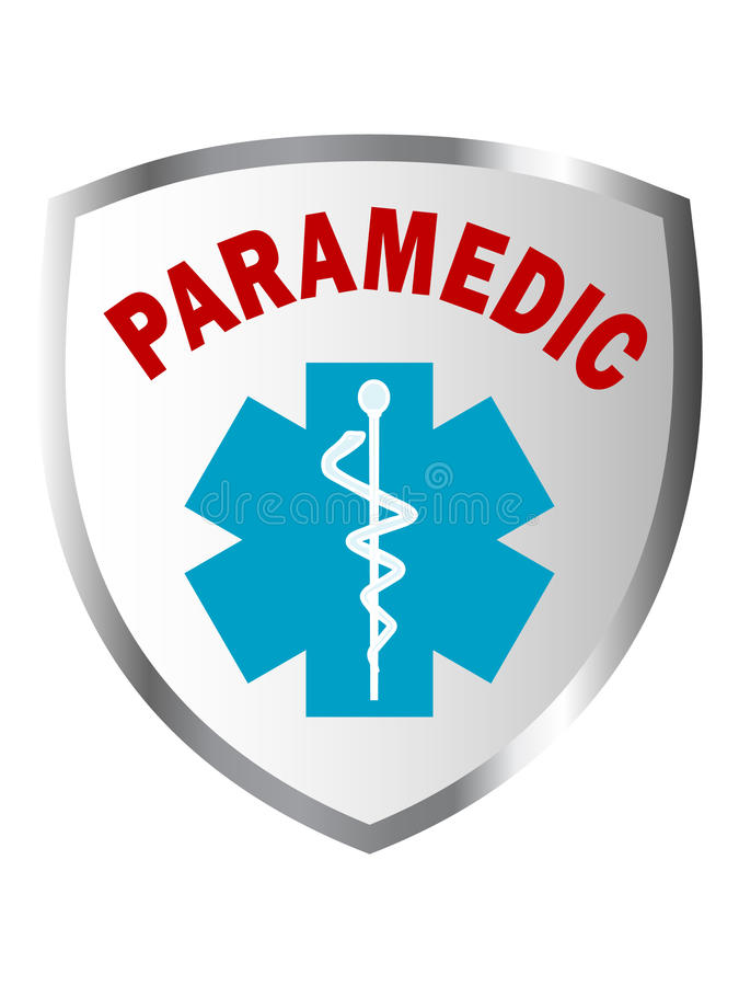 Paramedic shield sign. With caduceus royalty free illustration