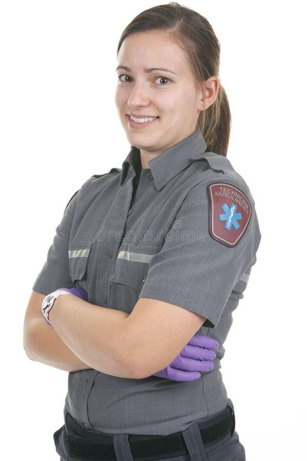 Paramedicinsk anställd framtill av en vit fotografering för bildbyråer
