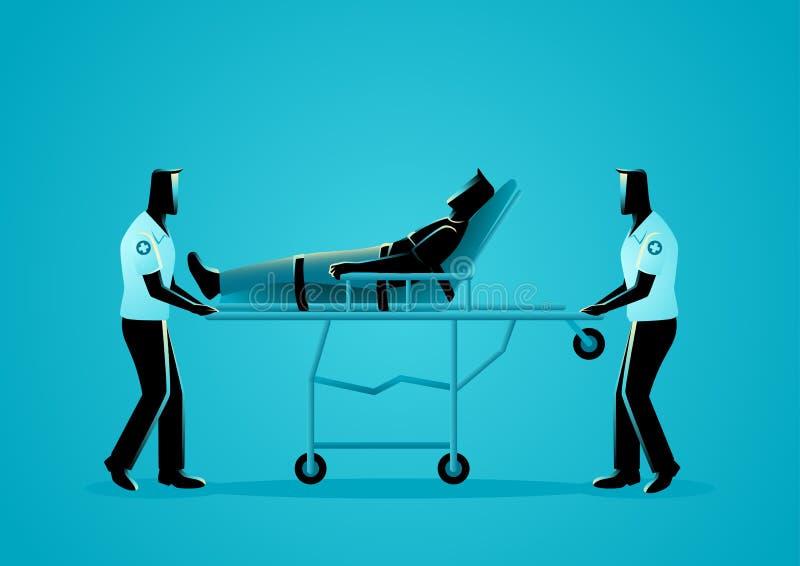 Paramedicinskt lag som flyttar den sårade mannen på en bår vektor illustrationer