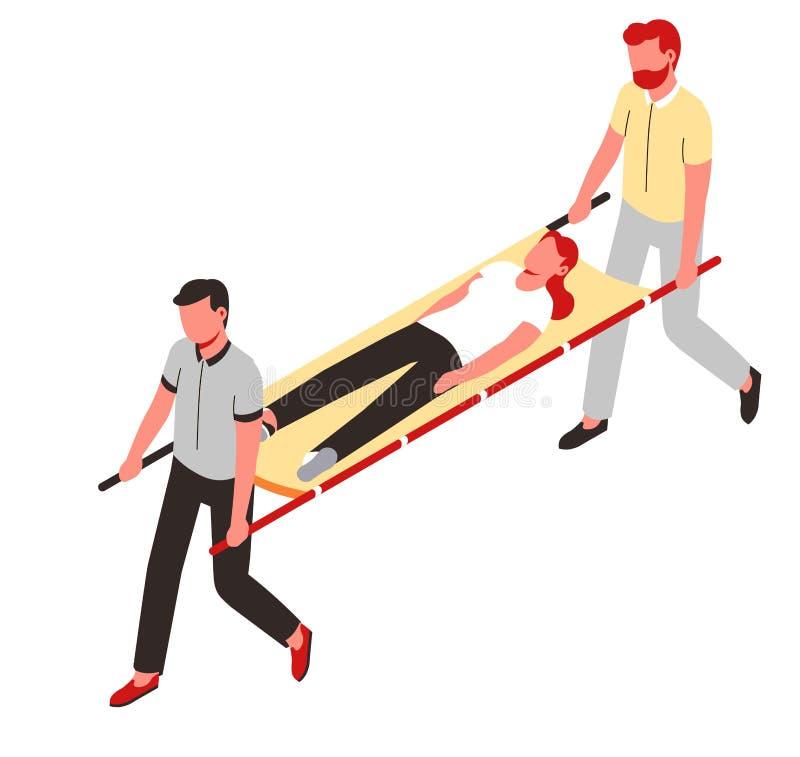 Paramedics πρώτων βοηθειών και τραυματισμένος ή άρρωστος απομονωμένος ασθενής χαρακτήρας απεικόνιση αποθεμάτων