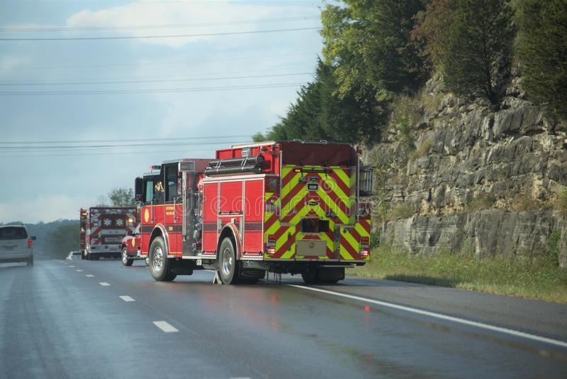 Paramedics and First Responders at an Accident stock photo