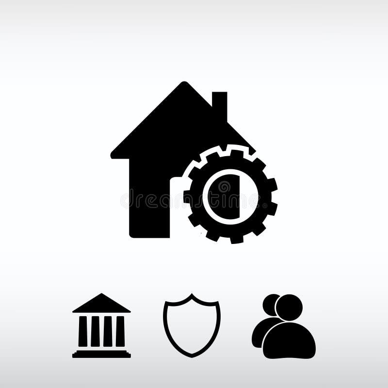 Parametri della regolazione, icona della casa, illustrazione di vettore Progettazione piana fotografie stock
