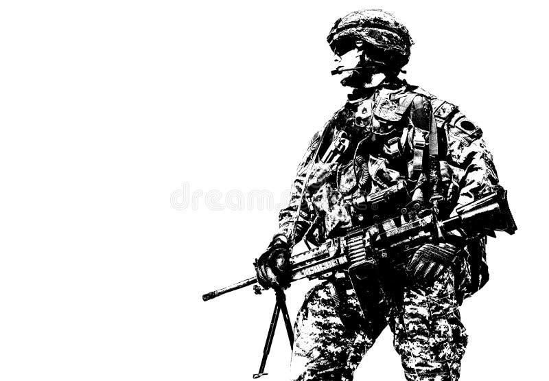 Paramilitar de Estados Unidos transportado por via aérea imagem de stock