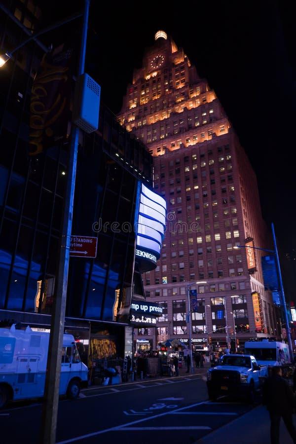 Paramount Building at Night royalty free stock photo