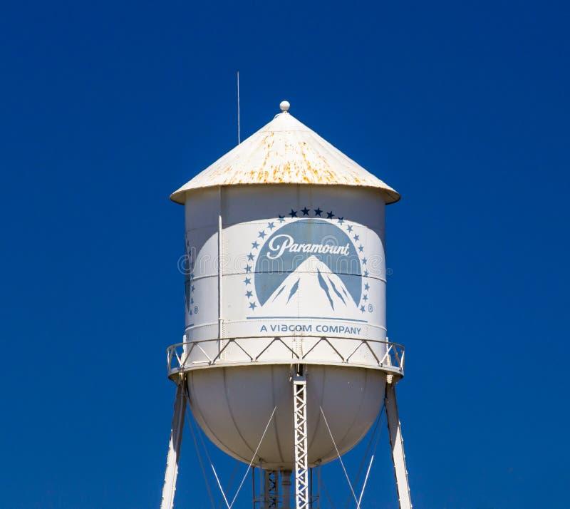 Paramount Pictures vattentorn och tecken arkivbilder
