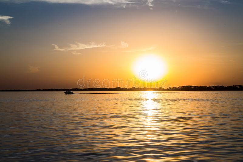 Parana river, Brazil. Border of Sao Paulo and Mato Grosso do sul states royalty free stock image