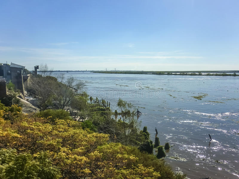 Parana River Landscape in Rosario Argentina. Landscape photo in a sunny day at Parana river in the city of Rosario in Argentina royalty free stock photo