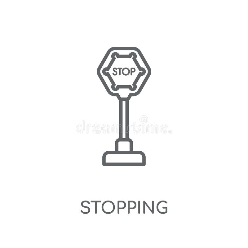 Parando o ícone linear Esboço moderno que para o conceito do logotipo no wh ilustração stock