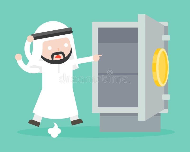 Paranoïde arabe d'homme d'affaires parce que de l'or et l'argent ont été volés de illustration de vecteur