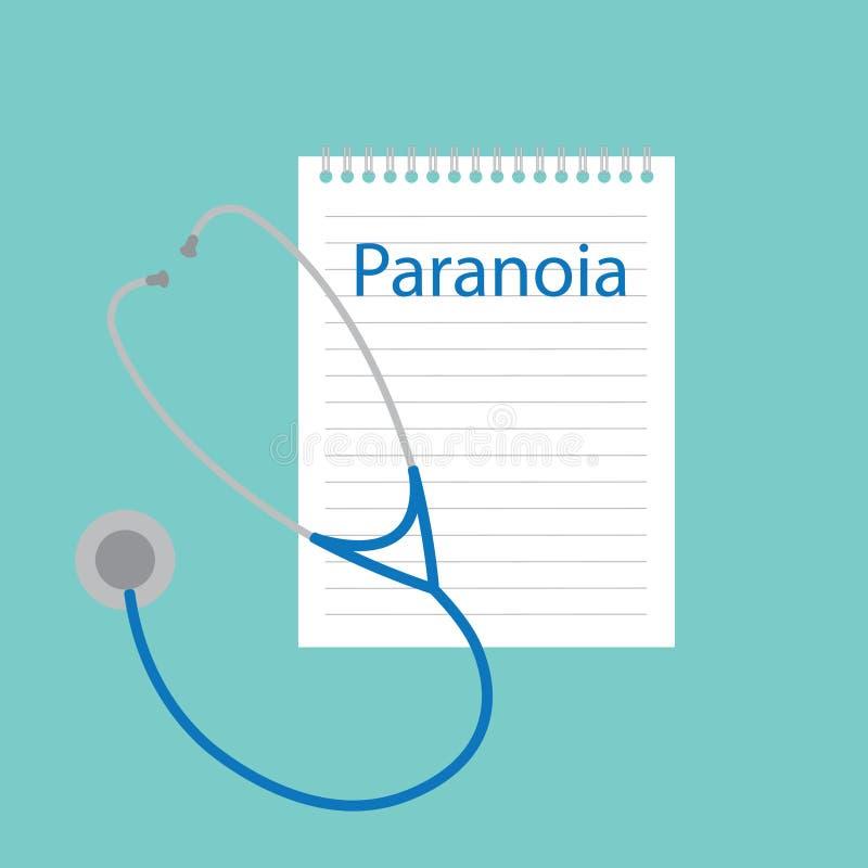 Paranoia escrita em um caderno ilustração royalty free