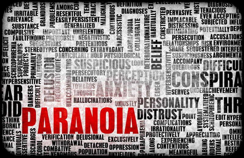 Paranoia. Paranoid and Paranoid Mental Anxiety as Concept royalty free illustration