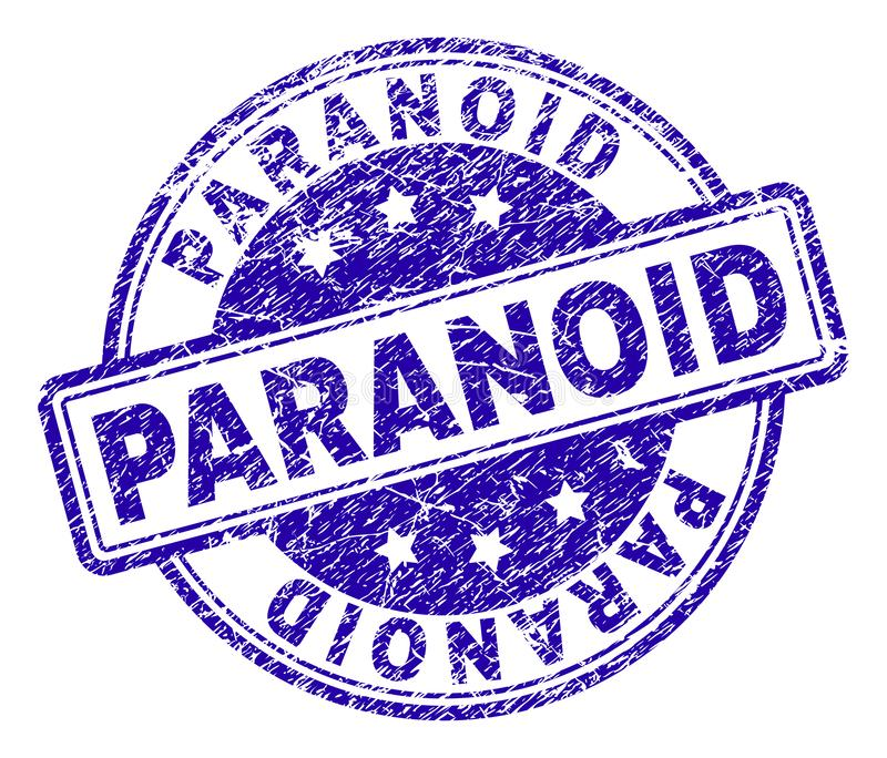 Grunge Textured PARANOID Stamp Seal stock illustration