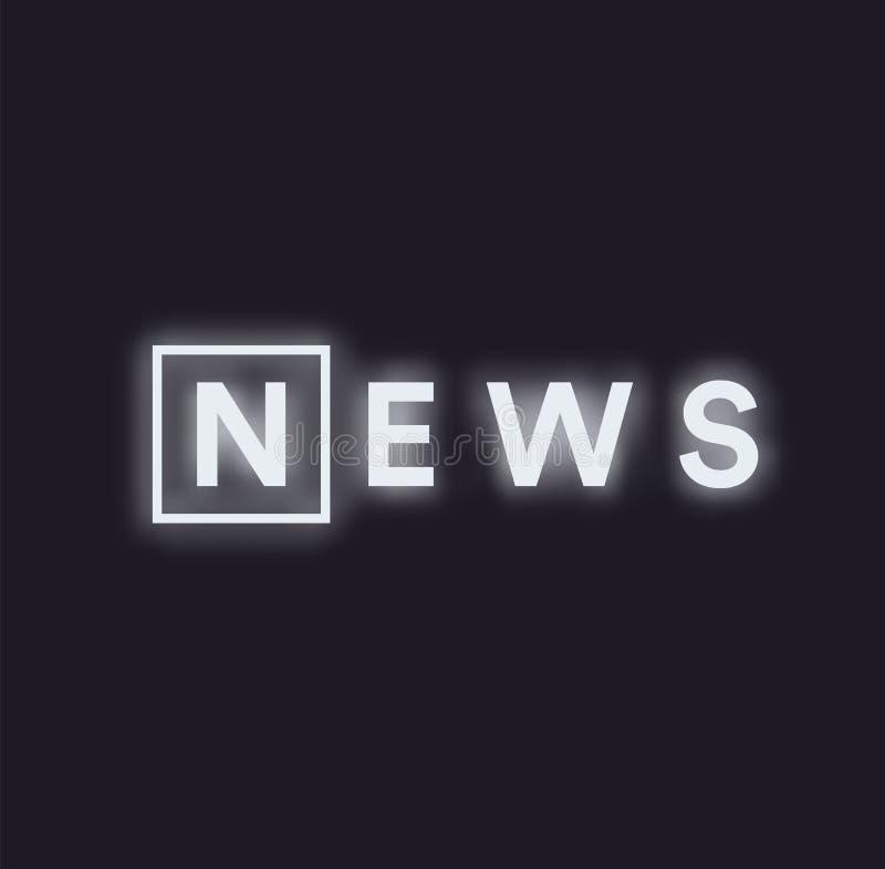 Paranormal logo för aktivitetsnyheternameddelande Monokromt begrepp för nyheternamatning, upplyst text för vitt neon på svart bak stock illustrationer