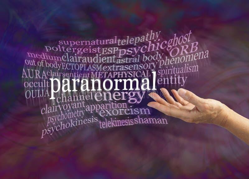 Paranormal zjawiska słowa chmura royalty ilustracja