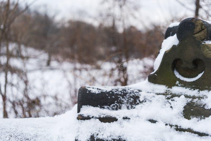 Parapet śniegu most w nowym York, centrala park obraz stock