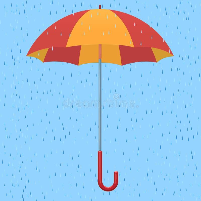 Paraplu in de regen vector illustratie