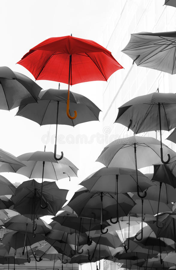 Paraplu die van de unieke menigte duidelijk uitkomen stock fotografie