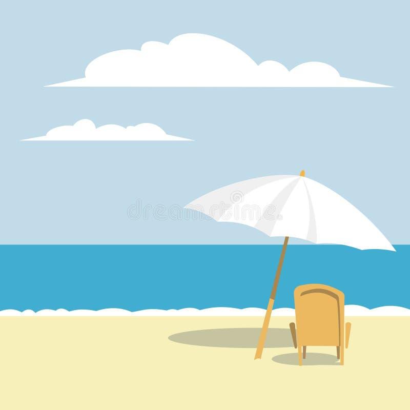 Paraplu en strand royalty-vrije illustratie