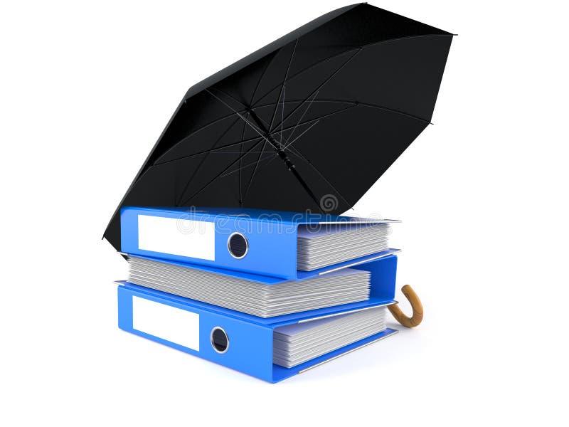 Paraplu met ringsbindmiddelen vector illustratie