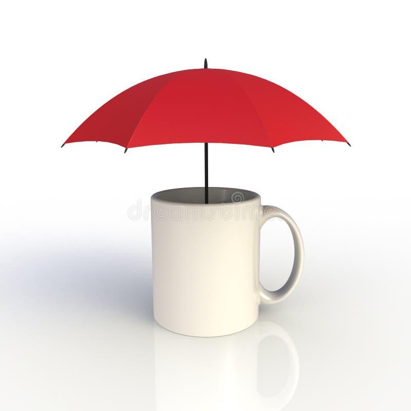 Paraplu met witte die koffiekop op witte achtergrond wordt geïsoleerd Spot op Malplaatje voor toepassingsontwerp De apparatuur va royalty-vrije illustratie